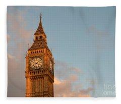Big Ben Tower With Blue Sky And Some Clouds Fleece Blanket