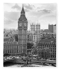 Big Ben With Westminster Abbey Fleece Blanket
