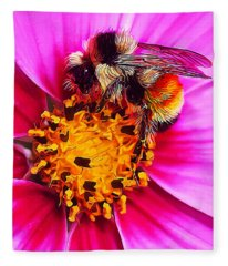 Big Bumble On Pink Fleece Blanket