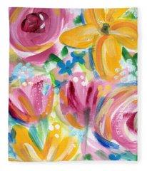 Big Colorful Flowers - Art By Linda Woods Fleece Blanket