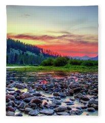Big Hole River Sunset Fleece Blanket