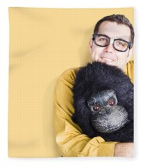 Big Male Goof Cuddling Toy Gorilla. Comfort Zone Fleece Blanket