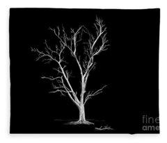 Big Old Leafless Tree Fleece Blanket