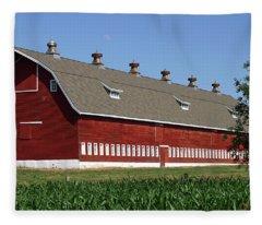 Big Red Barn In Spring Fleece Blanket