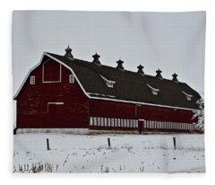 Big Red Barn In The Winter Fleece Blanket