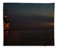 Big Red Lighthouse Holland Michigan With Freighter Darker Fleece Blanket