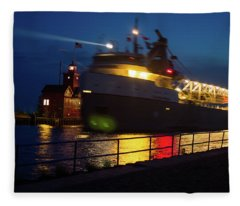 Big Red Lighthouse Holland Michigan With Freighter In Motion Fleece Blanket