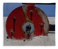 Big Red Wheel On The Beach In Daytona Florida Fleece Blanket