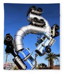 Big Rig Jig Balancing In Vegas Fleece Blanket