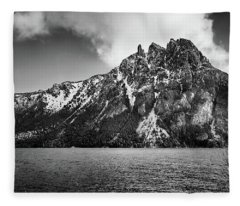 Big Snowy Mountain In Argentine Patagonia - Black And White Fleece Blanket