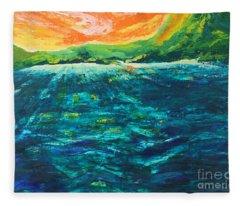 Big Tropical Wave Fleece Blanket
