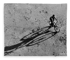 Bike And Shadow - San Francisco Beach At Dusk Fleece Blanket