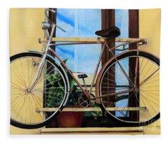 Bike In The Window Fleece Blanket
