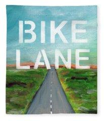 Bike Lane- Art By Linda Woods Fleece Blanket