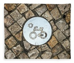 Bike Path Sign On A Cobblestone Pavement Fleece Blanket