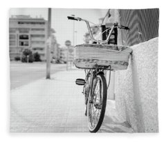 Bike With Basket Fleece Blanket
