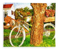 Bike With Flowers Fleece Blanket