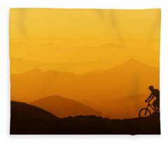 Biker Riding On Mountain Silhouettes Background Fleece Blanket