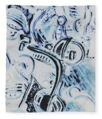 Bikes And Blue Cities Fleece Blanket