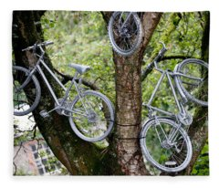 Bikes In A Tree Fleece Blanket
