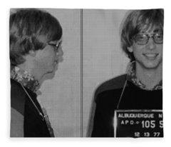 Bill Gates Mug Shot Horizontal Black And White Fleece Blanket