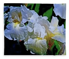 Fleece Blanket featuring the mixed media Billowing White Irises by Lynda Lehmann