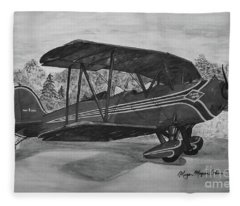 Biplane In Black And White Fleece Blanket