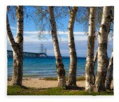 Birch At The Mac Fleece Blanket