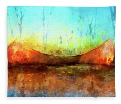 Birch Bark Canoe Fleece Blanket