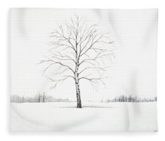 Birch Tree Upon The Winter Plain Fleece Blanket