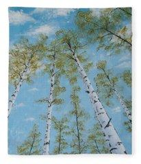 Birch Trees And Sky Fleece Blanket