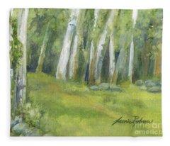 Birch Trees And Spring Field Fleece Blanket