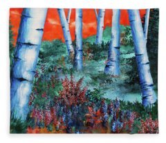 Birch Trees At Sunset Fleece Blanket