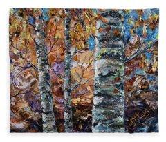 Birch Trees Oil Painting With Palette Knife  Fleece Blanket
