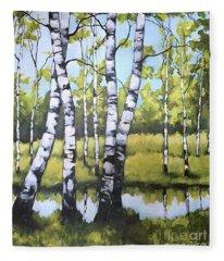 Birches In Spring Mood Fleece Blanket