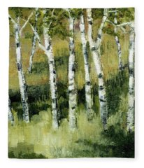 Birches On A Hill Fleece Blanket