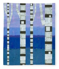 Birches With Blue And Lavender Fleece Blanket