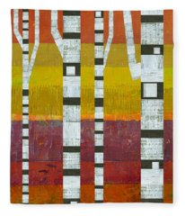 Birches With Purple And Gold Fleece Blanket