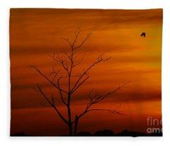 Bird At Play Fleece Blanket