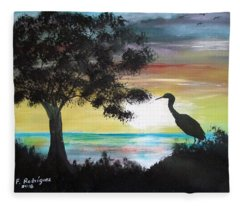 Bird During Sunset Fleece Blanket