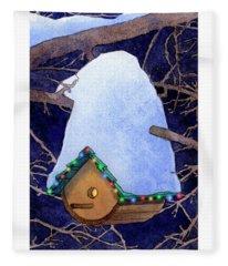 Bird House Christmas Fleece Blanket