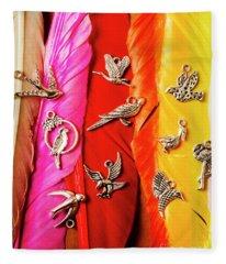 Bird Icons And Rainbow Feathers Fleece Blanket