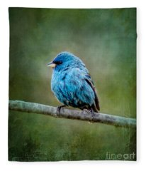 Bird In Blue Indigo Bunting Ginkelmier Inspired Fleece Blanket