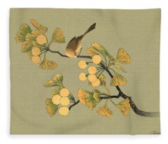 Bird In Ginkgo Tree Fleece Blanket