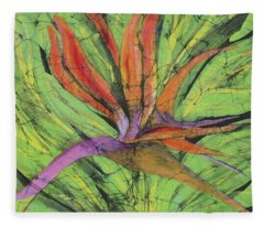 Bird Of Paradise IIi Fine Art Batik Fleece Blanket