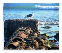 Bird On Perch At Beach Fleece Blanket