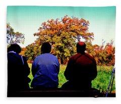 Bird Watchers Bench Fall Crabtree Nature Center Cook County Il  Fleece Blanket