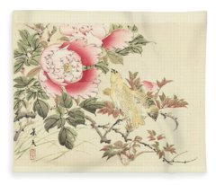Birds And Peonies, Matsumura Keibun, 1892 Fleece Blanket