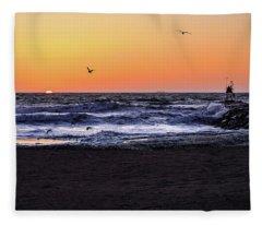 Birds At Sunrise Fleece Blanket