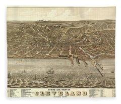 Birds Eye View Of Cleveland, Ohio 1877 Fleece Blanket